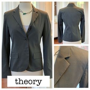 THEORY pinstripe 3 button fitted blazer